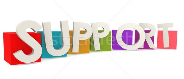 カラフル キューブ サポート 言葉 3D レンダリング ストックフォト © tang90246