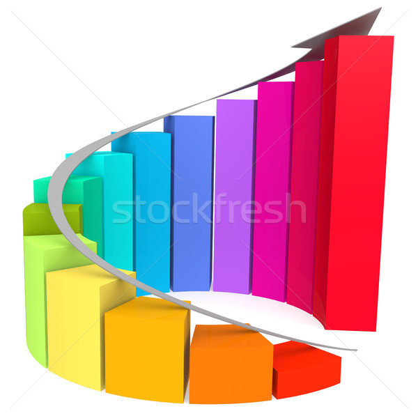 Stock photo: Colorful winding bar chart with white arrow
