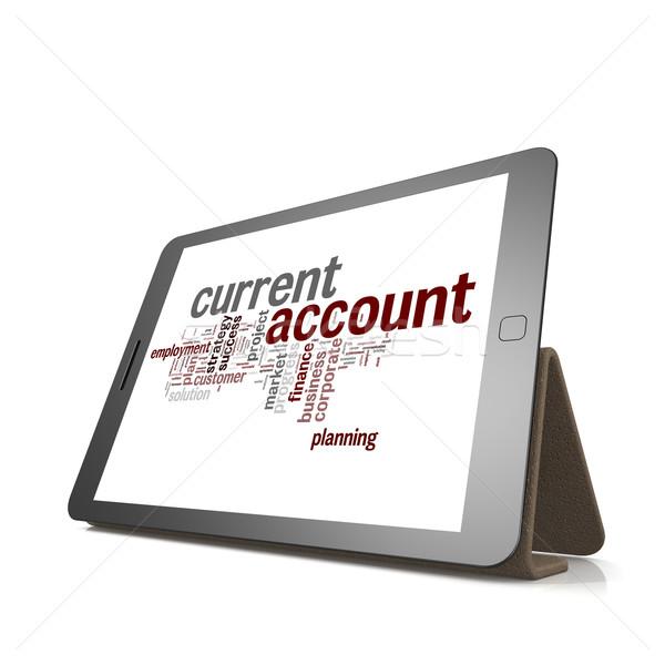 Corriente cuenta nube de palabras tableta imagen prestados Foto stock © tang90246