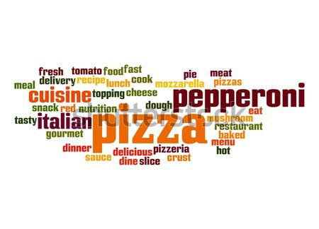 Pizza kelime bulutu gıda akşam yemeği kırmızı et Stok fotoğraf © tang90246