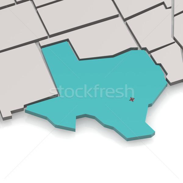 Teksas harita beyaz görüntü render Stok fotoğraf © tang90246
