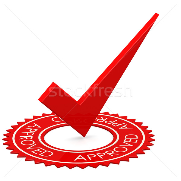Approved red tick in a circle Stock photo © tang90246