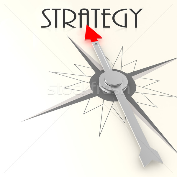 Stock photo: Compass with strategy word