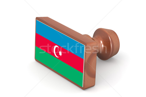 Blank wooden stamp with Azerbaijan flag Stock photo © tang90246