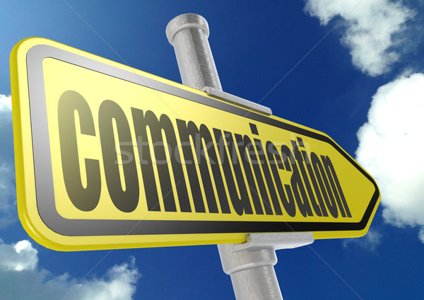 Yellow road sign with communication word under blue sky Stock photo © tang90246