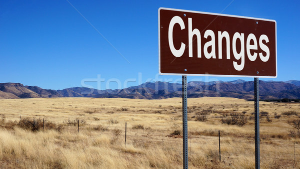 Changes brown road sign Stock photo © tang90246