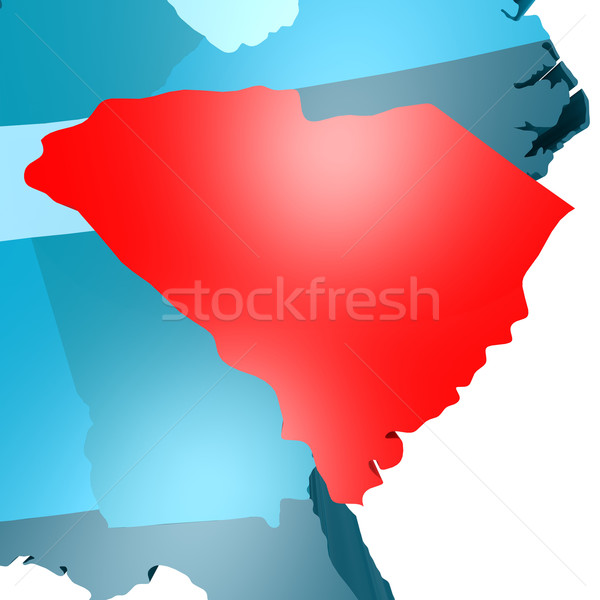 South Carolina map on blue USA map Stock photo © tang90246