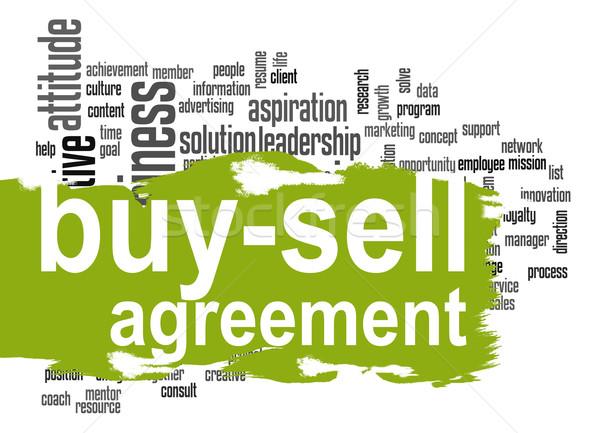Anlaşma kelime bulutu yeşil afiş görüntü render Stok fotoğraf © tang90246