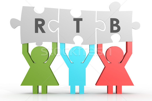 RTB - Real Time Bidding puzzle in a line Stock photo © tang90246