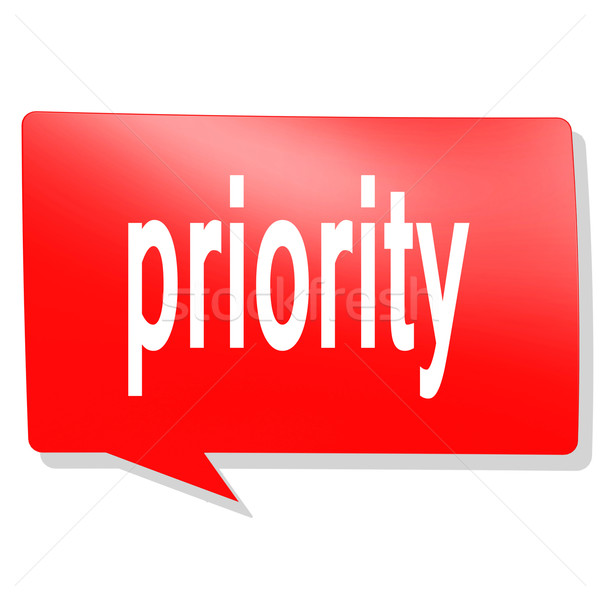 Prioriteit woord Rood tekstballon afbeelding gerenderd Stockfoto © tang90246