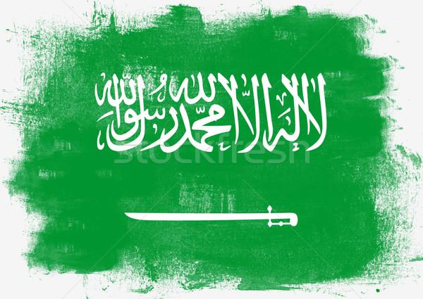 Flag of Saudi Arabia painted with brush Stock photo © tang90246
