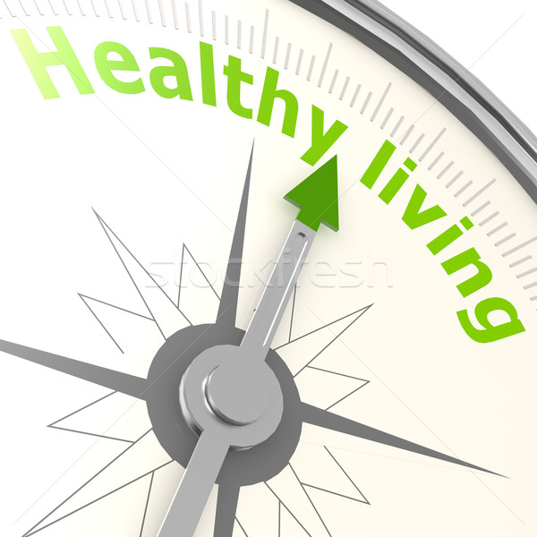 Gezond leven kompas voedsel gezondheid groene oefening Stockfoto © tang90246