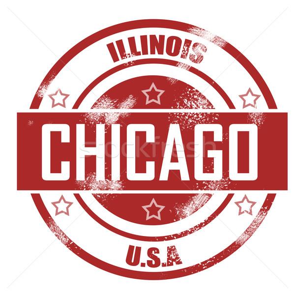 Chicago timbro città segno rosso vintage Foto d'archivio © tang90246