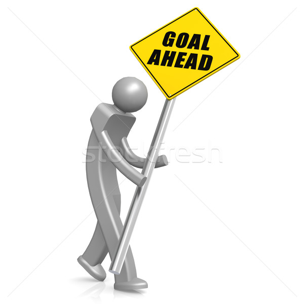 Man with goal ahead road sign Stock photo © tang90246