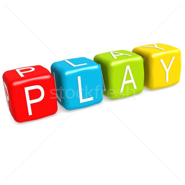 Játék divatszó zöld kék levél piros Stock fotó © tang90246