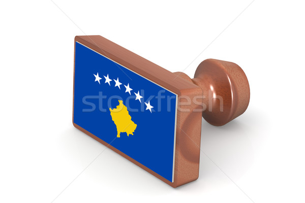 Wooden stamp with Kosovo flag Stock photo © tang90246