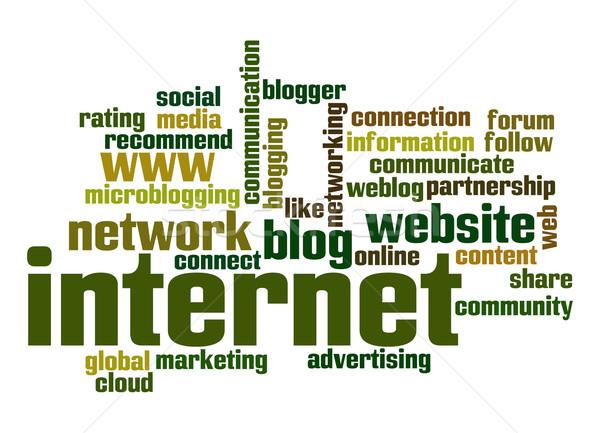 Internet szófelhő kommunikáció felhő marketing hirdetés Stock fotó © tang90246