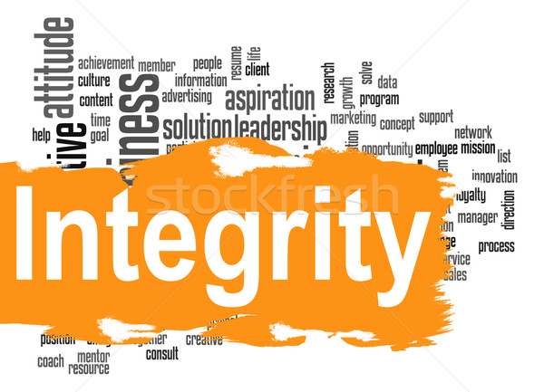 Integrity word cloud with yellow banner Stock photo © tang90246