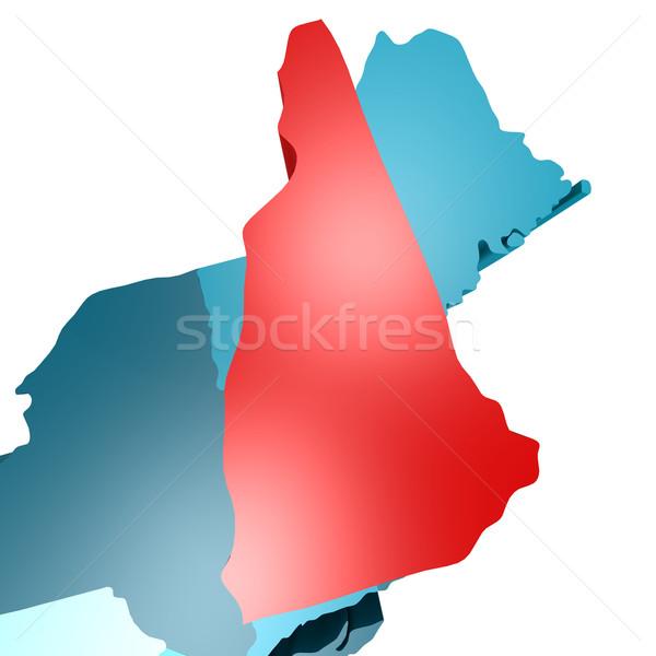 New Hampshire harita mavi ABD görüntü render Stok fotoğraf © tang90246