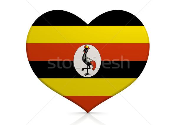 Stock fotó: Uganda · szív · háttér · utazás · zászló · vidék