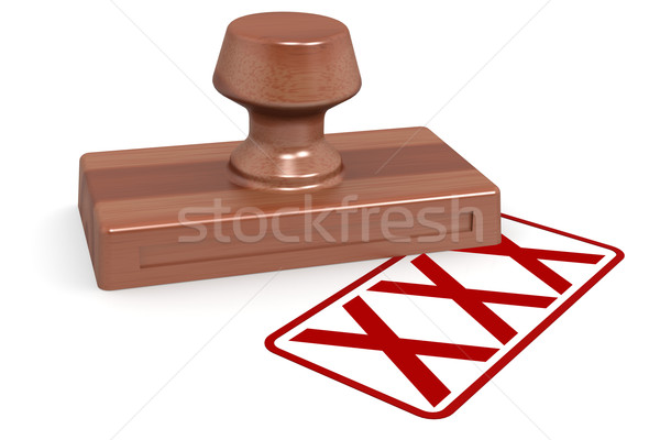 Stock photo: Wooden stamp xxx with red text