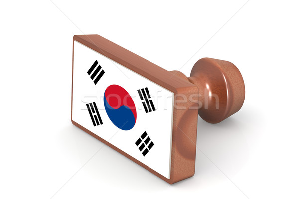 Wooden stamp with South Korea flag Stock photo © tang90246