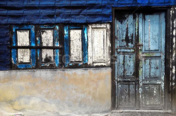 двери окна Vintage дома текстуры стены Сток-фото © tang90246