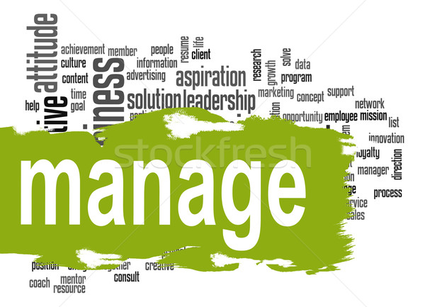 Manage word cloud with green banner Stock photo © tang90246