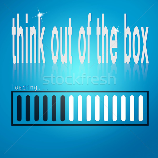 Blue loading bar with think out of the box word Stock photo © tang90246