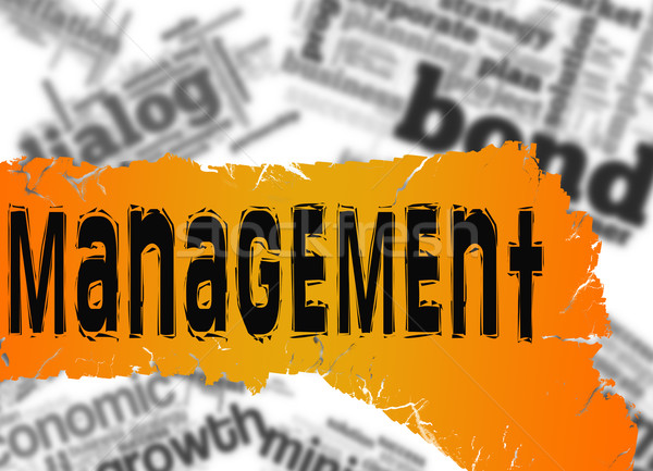 Stock photo: Word cloud with management word on yellow and red banner