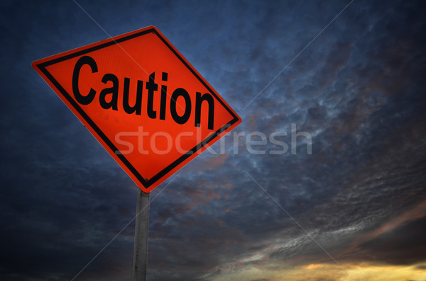 Caution warning road sign Stock photo © tang90246