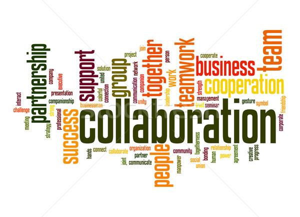 Samenwerking woordwolk succes persoon ondersteuning partner Stockfoto © tang90246