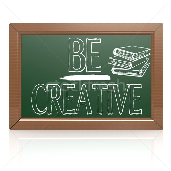 Be Creative written with chalk on blackboard Stock photo © tang90246