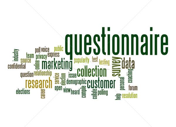 Questionnaire nuage de mots industrie équipe aider marketing Photo stock © tang90246