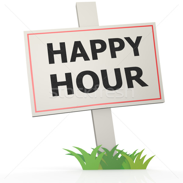 White banner with happy hour Stock photo © tang90246