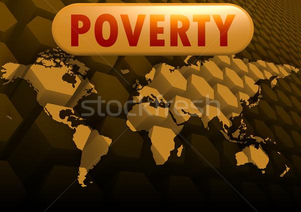 Ubóstwa mapie świata komputera Pokaż świetle finansów Zdjęcia stock © tang90246