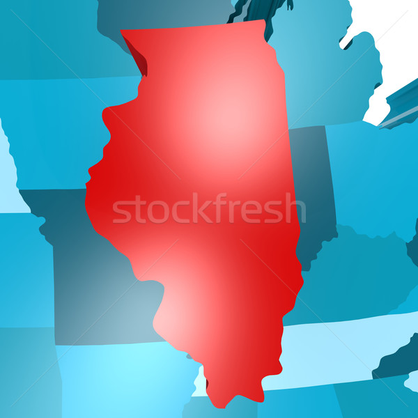 Illinois harita mavi ABD görüntü render Stok fotoğraf © tang90246