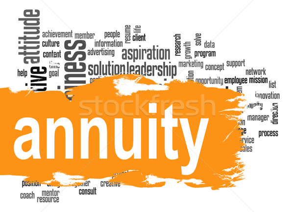 Annuity word cloud with orange banner Stock photo © tang90246
