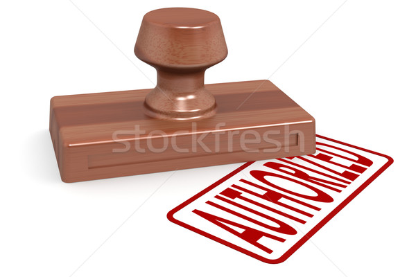 Wooden stamp authorized with red text Stock photo © tang90246