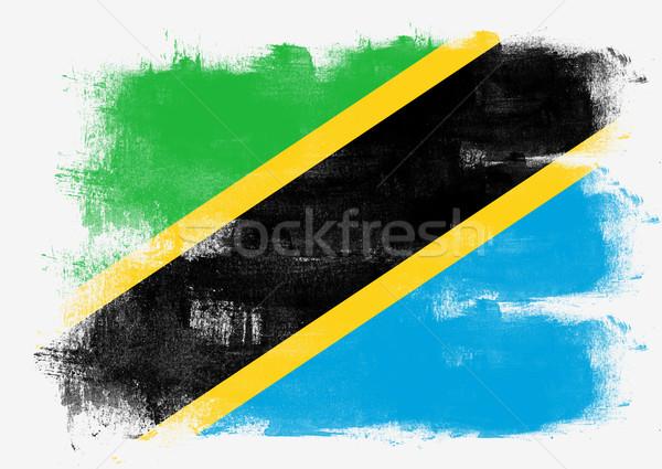 Banderą Tanzania malowany szczotki solidny streszczenie Zdjęcia stock © tang90246