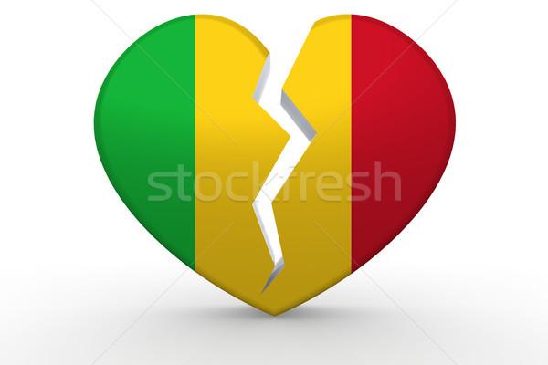 Broken white heart shape with Mali flag Stock photo © tang90246