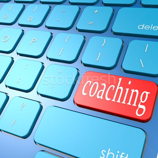 コーチング キーボード コンピュータ 教育 青 キー ストックフォト © tang90246
