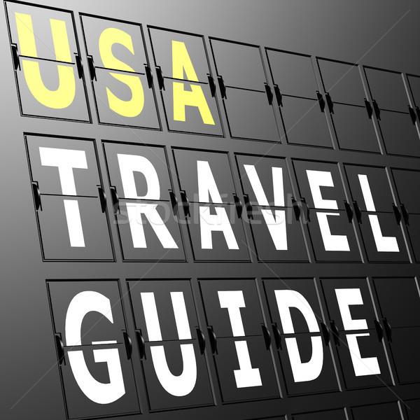 Airport display USA travel guide Stock photo © tang90246