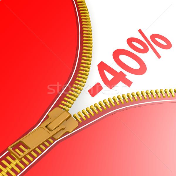 Fermuar kırk yüzde iş kırmızı Stok fotoğraf © tang90246