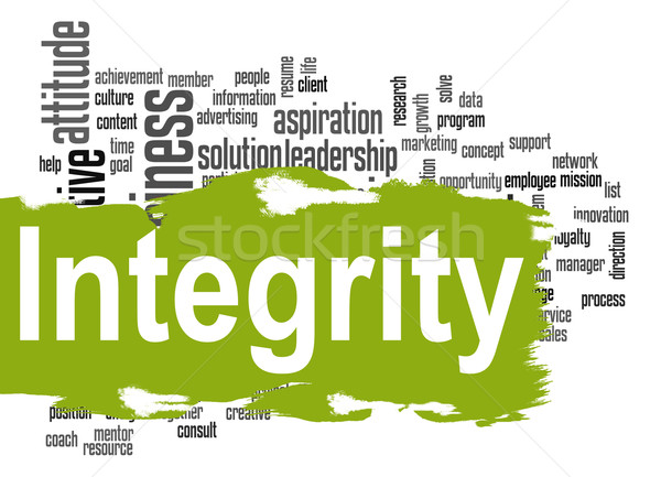 Integrity word cloud with green banner Stock photo © tang90246