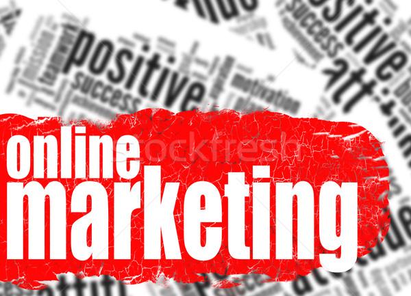 Woordwolk online marketing afbeelding gerenderd gebruikt Stockfoto © tang90246