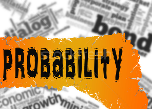 Word cloud with probability word on yellow and red banner Stock photo © tang90246