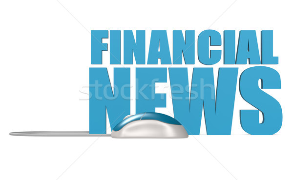 Сток-фото: финансовых · Новости · слово · изолированный · синий · Компьютерная · мышь