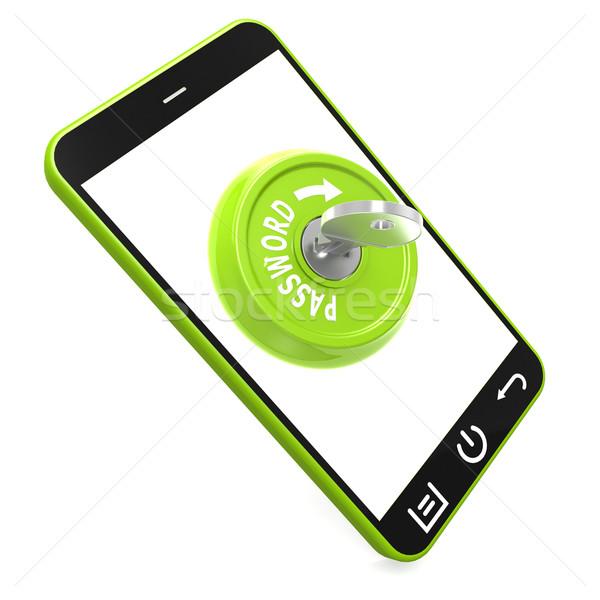 Green password key on smartphone Stock photo © tang90246