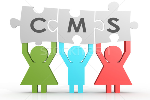 CMS - Content Management System puzzle in a line Stock photo © tang90246